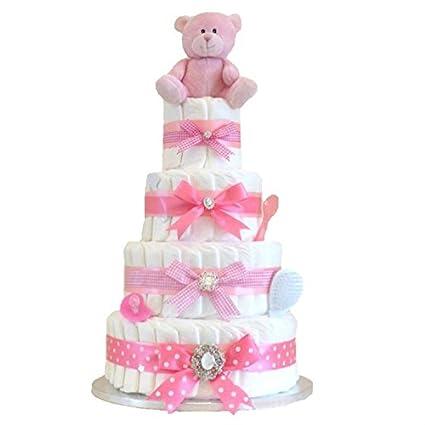 Firma Extra Large Deluxe - cuatro Tier Niñas Rosa - tarta de pañales ...