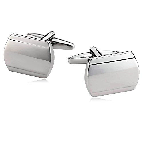 Aooaz Men Stainless Steel Cufflinks Smooth Face Long Square Oval Silver Cufflinks Business With Gift - Long Oval Face