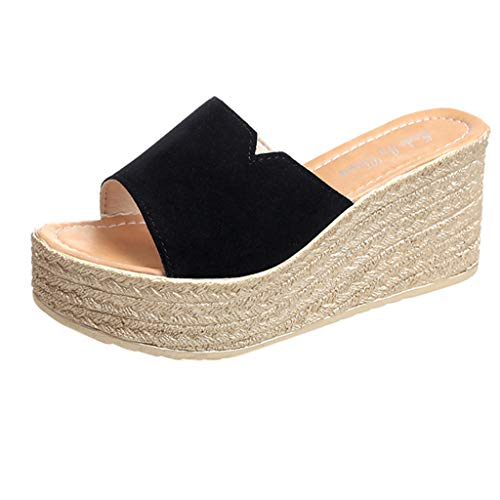 ◕‿◕Watere◕‿◕ Fashion Women Peep Toe Suede Beach Sandals Rome Slip-On Casual Wedges Shoes Indoor Outdoor Black