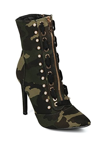 aux Pearl Stud Stitch Lacing Pointy Stiletto Ankle Boot HF56 - Camouflage Fabric (Size: 6.0) ()