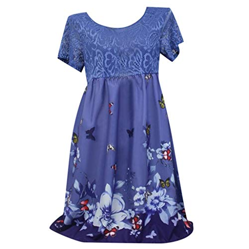 Kulywon Women Summer Casual Short Sleeve Lace Printed Above Knee Party Dress Sundress Navy ()