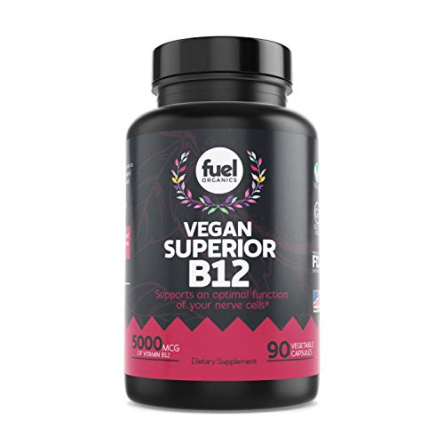 Fuel Organics B12 Vegan Vitamin Supplements︱90 Capsules︱Methylcobalamin︱Methyl Vitamins B-12︱Best Plant-based Whole Food & Organic Methylated︱Energy For Women And Men ︱Just As Good As Sublingual Drops