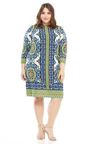 London Times Women's Plus Size 3/4 Sleeve Matte Jersey Shift Dress, Ivory/Blue, 2X -