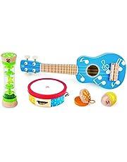Hape Mini Band Instrument Set | Five Piece Wooden Instrument Music Set For Kids