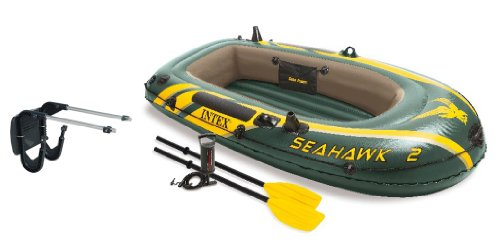 Intex Seahawk Boat Kit - Intex Seahawk 2 Inflatable Boat Set + Oars/Pump/Motor Mount | 68347EP + 68624E