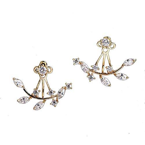 - Febelle Vintage Rhinestone Leaves Ear Studs Screw Back Women Earrings Golden