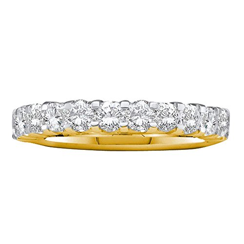 Roy Rose Jewelry 14K Yellow Gold Ladies Pave-set Diamond Single Row Wedding Band 1-Carat tw ~ Size 7 (Jewelry Set Pave Diamond)