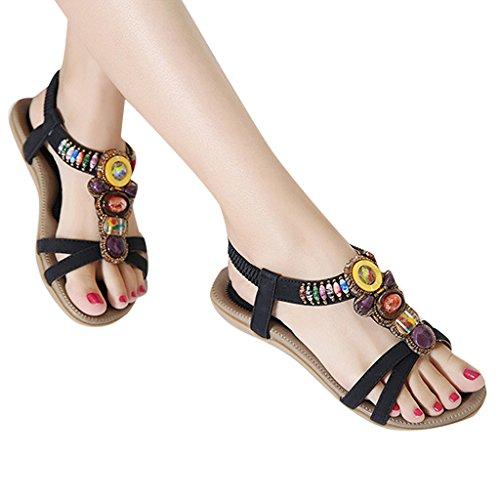 MRSMR - Sandalias de vestir de poliuretano para mujer negro
