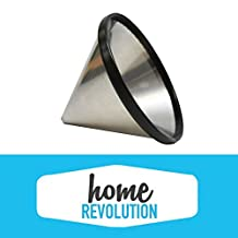 Chemex Washable & Reusable Stainless Steel Cone Coffee Filter Home Revolution Brand Made To Fit Chemex 6, 8 & 10 Cup Coffee Makers, Hario V60 02 & 03 Coffee Drippers, Bodum 8 Cup Pour Over Drip Coffee Brewers.