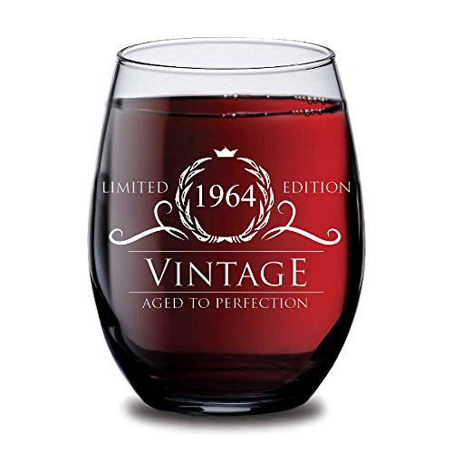 1964 Birthday Gifts for Women and Men Wine Glass - Funny Vintage Silver Anniversary Gift Ideas for Him, Her, Husband or Wife. Cups for Mom and Dad. 15 oz Glasses - Red, White WInes - Decorations