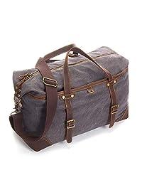 Emissary - Bolsa de lona y piel para el fin de semana, para hombre, Gray Weekender Bag