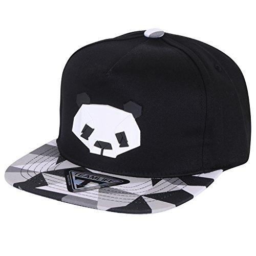 ililily Animal Paper Folding Rubber Logo Flat Bill Snapback Hat Baseball Cap, Panda - Snapbacks Hipster