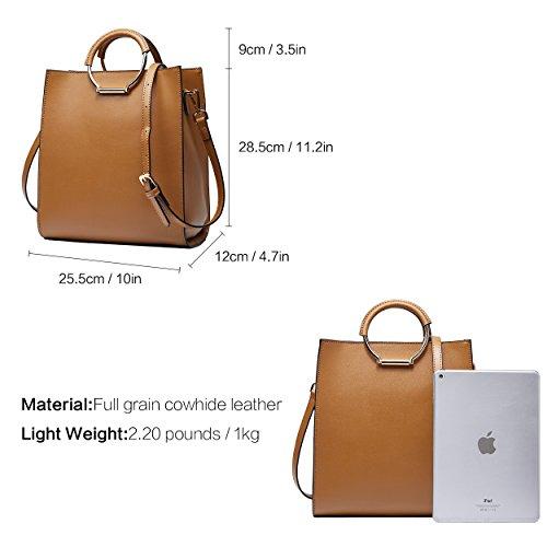 Capacity High Brown Handbags Crossbodybag Shoulder Tote Leather Purse Women for BOYATU 1F7wxIqq