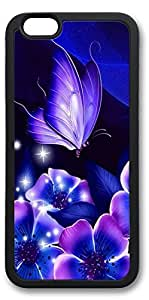 iPhone 6 Cases, Personalized Custom Soft TPU Black Edge Case Cover for New iPhone 6 4.7 inch Purple Flowers by mcsharks