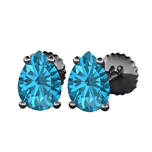 (Pear Cut Created Swiss Blue Topaz (10X12MM) Solitaire Stud Earrings 14k Black Gold Over .925 Sterling Silver For Women's)