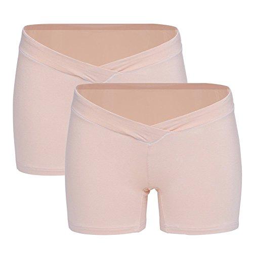 Maternal Low Waist Briefs U-shaped Belly Support Cotton Underpants 2 Pcs Beige L