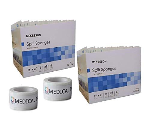 Sterile 2x2 6 Ply Split Drain Sponge 2 Packs of 35 Packs of 2 + 2 Rolls of Vakly Medical Tape (2)