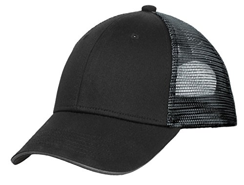 Port Authority Men's Double Mesh Snapback Sandwich Bill Cap OSFA Black/ Silver (Company Sandwich Bill Cap)
