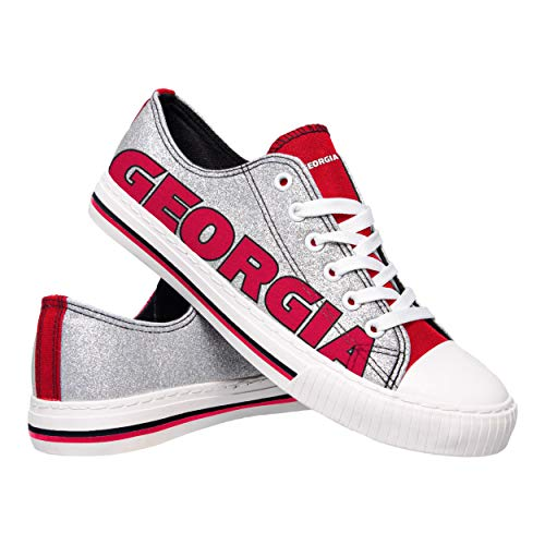 FOCO NCAA Georgia Bulldogs Womens Glitter Low Top Canvas Shoesglitter Low Top Canvas Shoes, Team Color, (Georgia Bulldogs Top)
