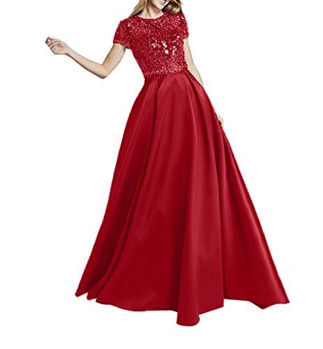 Abschlussballkleider Steine Kurzarm Mit Charmant Satin Abendkleider Promkleider Rot Damen Hochwertig Ballkleider pWcW71zPnf