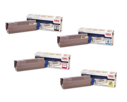 OKI Toner Set for C6100 / C6150 / C5500MFP / MC560 Series Printers. Full Set of 4 High Yield Genuine OKI Toner Cartridges. 43865717 Yellow, 43865718 Magenta, 43865719 Cyan, 43865720 Black. Type C15. 6K Yield on colors, 8K Yield on (Oki Genuine Cyan Drum)