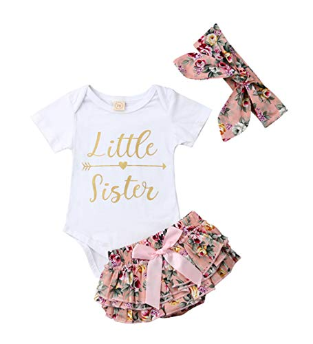 Baby Girls Jumpsuit Newborn Infant Kids Floral Clothes Shorts Summer Romper Bodysuit Sundress Outfits (0-3 Months, C-Pink)]()