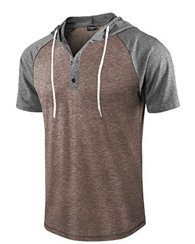 - Moomphya Men's Jacquard Knitted Casual Short Sleeve Raglan Henley Jersey Hoodie T Shirt (Grey/Brown SL, Large)