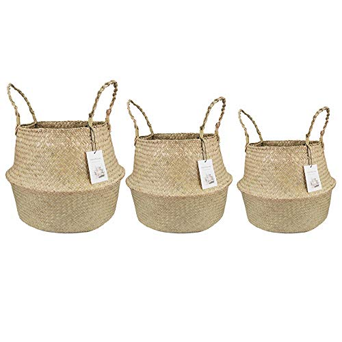 Qliwa Eco- Friendly Seagrass Baskets - 3 Set Handmade from Natural Seagrass - Endless Practical Uses For Home & Decoration