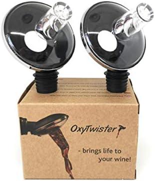 OxyTwister OxyTwister - Aireador de vino con 2 calcetines divertidos, ideal como regalo de vino, diseño danés para airear y decantador con boquilla de vino tinto y accesorios para vino.