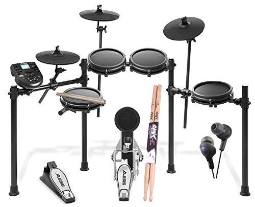 Electronic Drum Alesis Dm6 - Alesis Nitro Drum Kit, 8-Piece Electronic Kit with Drum Module + On Stage Maple Wood 5B (1 Pair) Of Drumsticks +JVC HAFX5B Gumy Plus Inner Ear Headphones – Top Accessory Bundle