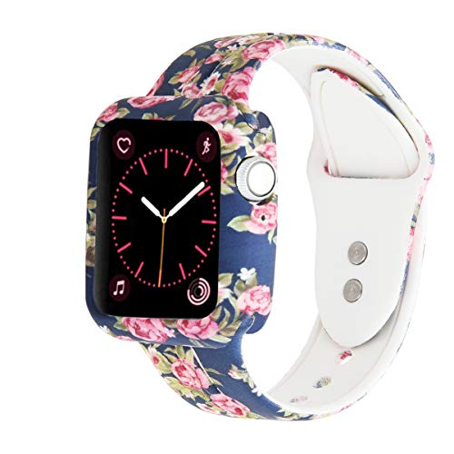 XiangMi Replacement Compatible with Apple Watch 38mm 40mm 42mm 44mm,Soft Silicone Floral Print Strap Sport Band Bracelet Wristbands Compatible with Apple Watch Series 4 Series 3 Series 2 Series 1
