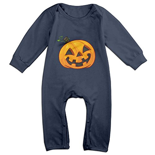 Cute Pumpkin Face Halloween Outfits For Infant Navy Size 24 (Magic Mike Halloween Outfits)