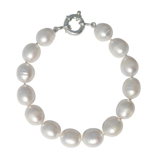 Large 10-11mm White Oval Shape Baroque Cultured Pearl Bracelet with A Silver Clasp ()