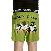 Lazy One Men's Nature Calls Comical Boxer Green