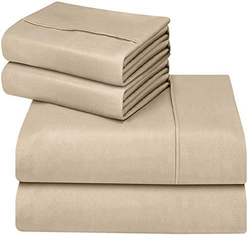 (Utopia Bedding 4-Piece Queen Bed Sheet Set (Beige))