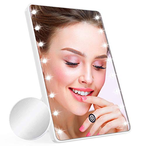 Makeup Mirror for Women and Men, Table Detachable 10X Magnification Vanity Mirror with 16 LED Lights,Touch Screen,Light…