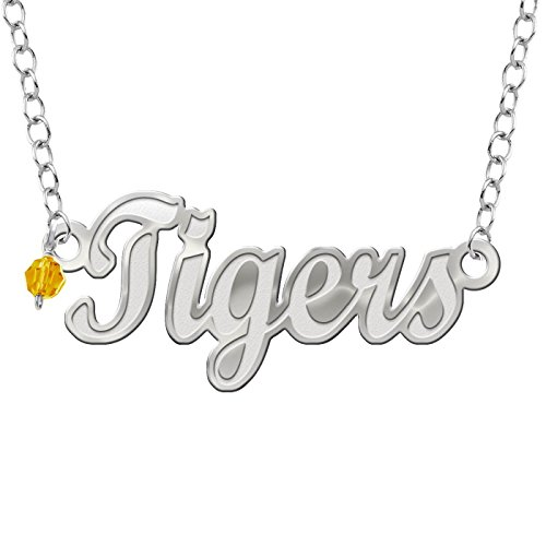(Collegiate Jewelry Missouri Tigers Script Necklace with Color Crystal Accent)