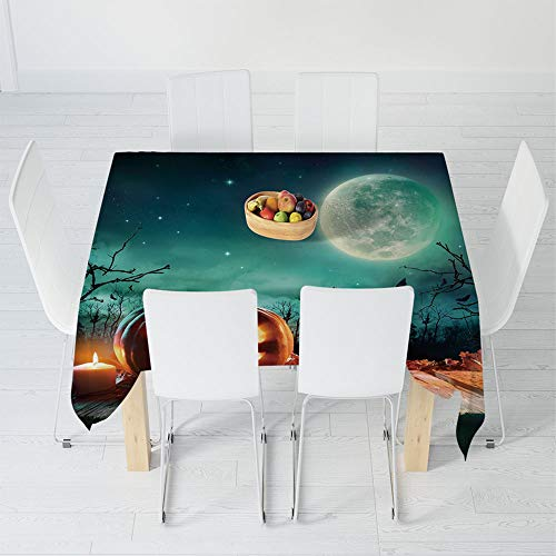 TecBillion Soft Tablecloth,Halloween,for Buffet Table Parties Holiday Dinner Wedding & More,47.2 X 47.2 Inch,Fantastic Magic Night Spooky Atmosphere Candles -