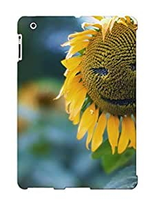Ipad 2/3/4 Hard Back With Bumper Silicone Gel Tpu Case Cover For Lover's Gift Smiling Sunflower