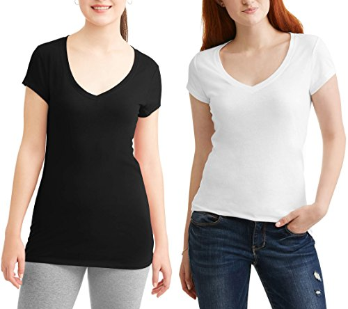 No Boundaries Womens Short Sleeve V-Neck T-Shirt Everyday Top Value-2 Pack (Small, White/Black) from No Boundaries