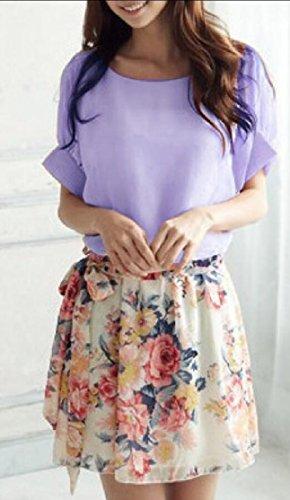 Midi Jaycargogo Neck Floral Women's Dress Short Crew Casual Print Purple Sleeve Bq8qIr