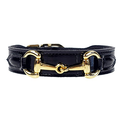 - Hartman & Rose Leather Dog Collar with Gold Plated Horse Bit Design - Belmont Collection Fancy Dog Collars Black Patent, 20-22 Inch