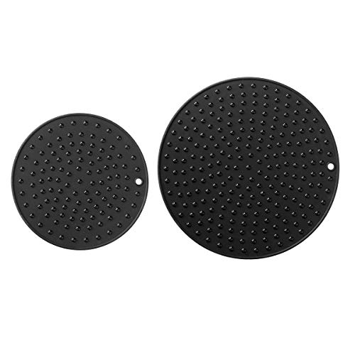 Round Silicone Trivet - Extra Large, Extra Thick Silicone Trivet Mat Set For Hot Dishes - Silicone Hot Pot Holder for Table, Kitchen Hot Pads for Pots & Pans, Extra Large and Regular Sizes S/2 (Black)