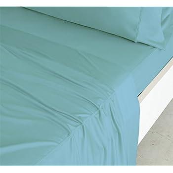SHEEX Luxury Copper Sheet Set with 1 Pillowcase, Breathable Copper Fabric, Aqua, Twin