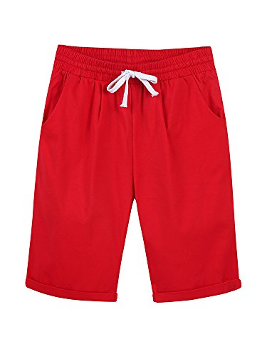 Women's Casual Elastic Waist Knee Length Curling Bermuda Shorts with Drawstring Red - L ()