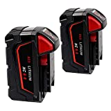 M18 Battery for Milwaukee, 2 Pack 6.0 Ah Tool Replacement Battery for Milwaukee M18B 48-11-1820 48-11-1850 48-11-1860 48-11-1828 48-11-10 Cordless Power Tools (18V, Li-ion)
