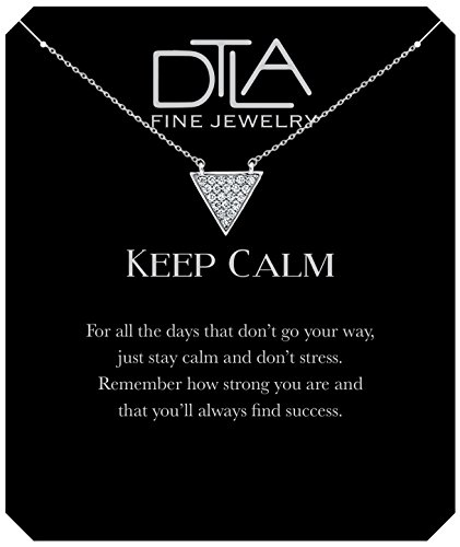(DTLA Keep Calm Triangle Necklace in Sterling Silver with Inspirational Quote Card - Silver Clear)