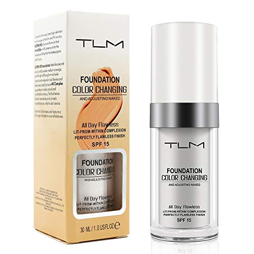 TLM Flawless Colour Changing Foundation Makeup, Concealer Cover Cream, Warm Skin Tone Foundation liquid,Base Nude Face Moisturizing Liquid Cover Concealer for Women and ()