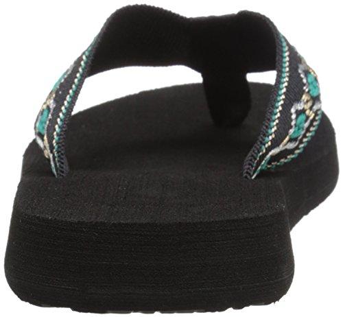 Reef Sandy - sandalias de dedo de lona mujer negro - Black/Blue/Metallic