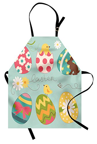 Ambesonne Easter Apron, Easter Eggs with Flowers Zigzags